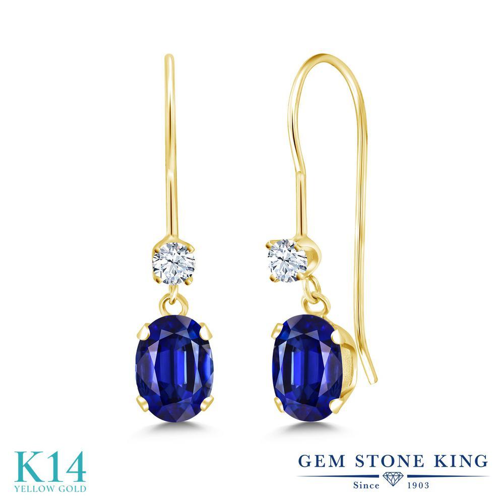 Gem Stone King 3.2カラット 合成ホワイトサファイア(ダイヤのような無色透明) 14金 イエローゴールド(K14) ピアス レディース ぶら下がり アメリカン フック 天然石 金属アレルギー対応 誕生日プレゼント