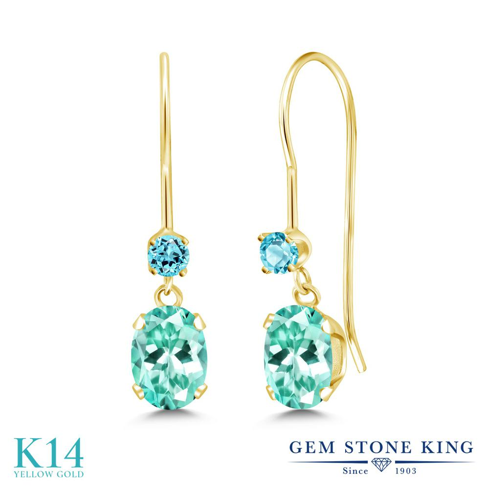 Gem Stone King 1.21カラット 天然アパタイト シミュレイテッドトパーズ(スカイブルー) 14金 イエローゴールド(K14) ピアス レディース ぶら下がり アメリカン フック 天然石 金属アレルギー対応 誕生日プレゼント