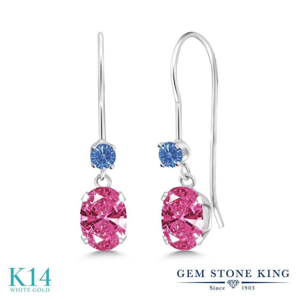 Gem Stone King 0.96カラット スワロフスキージルコニア (ピンク) 14金 ホワイトゴールド(K14) ピアス レディース CZ 小粒 ぶら下がり アメリカン 揺れる 金属アレルギー対応 誕生日プレゼント