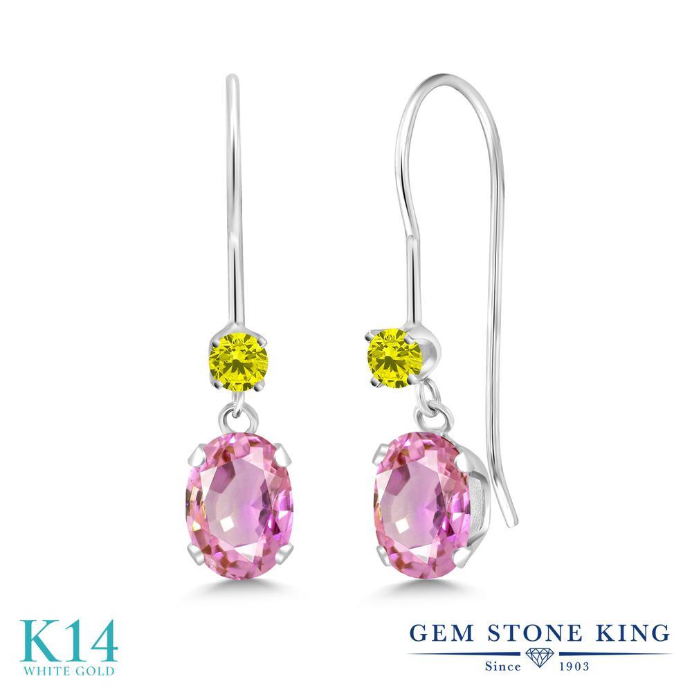 Gem Stone King 1.23カラット 天然サファイア(ピンク) 14金 ホワイトゴールド(K14) 天然イエローダイヤモンド ピアス レディース ぶら下がり アメリカン フック 天然石 誕生石 金属アレルギー対応 誕生日プレゼント