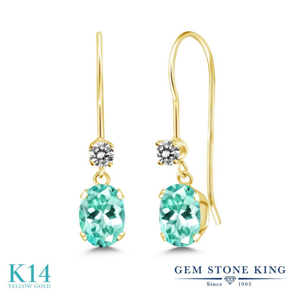Gem Stone King 1.18カラット 天然 アパタイト 天然 ダイヤモンド 14金 イエローゴールド(K14) ピアス レディース ぶら下がり アメリカン 揺れる 天然石 金属アレルギー対応 誕生日プレゼント