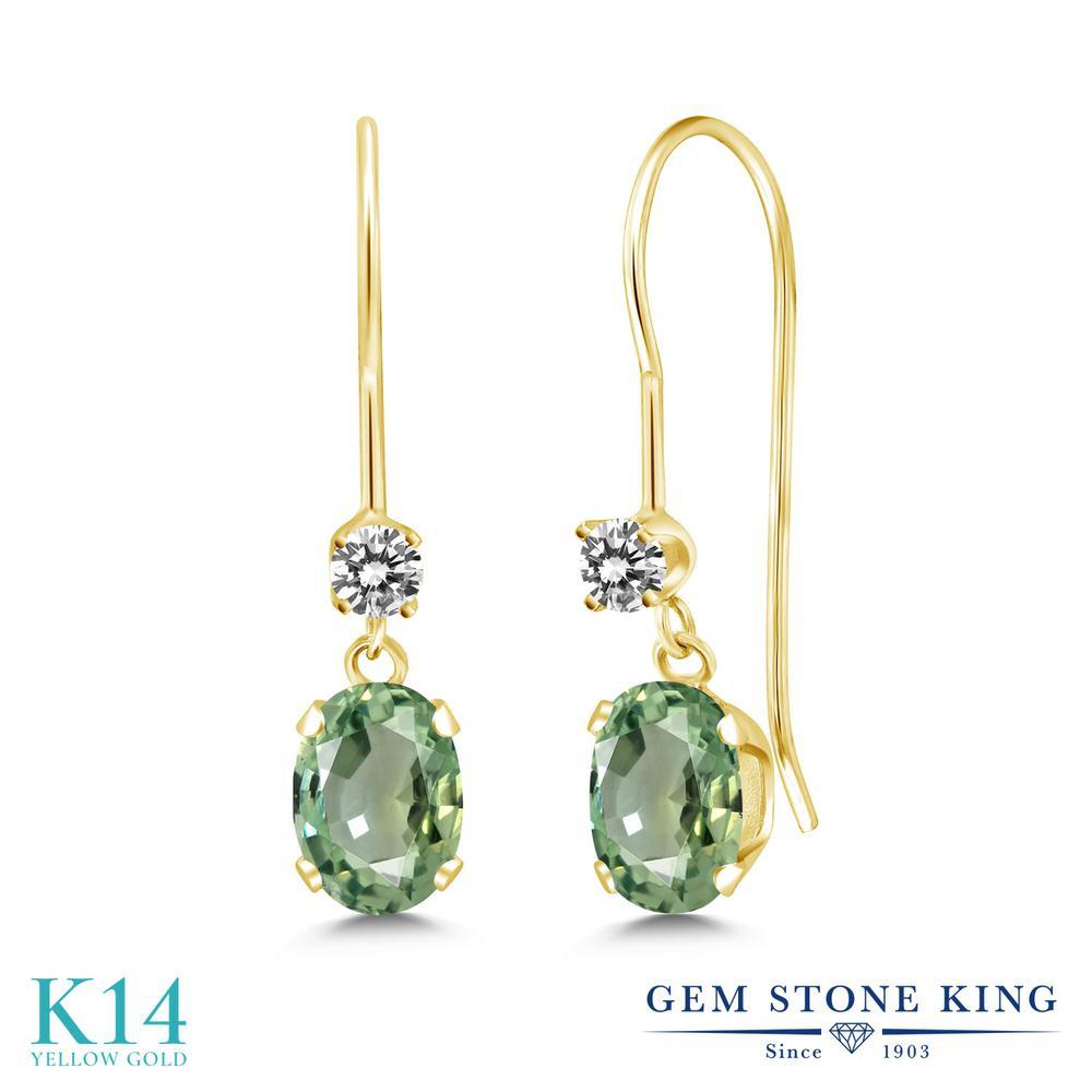 Gem Stone King 1.23カラット 天然 グリーンサファイア 天然 ダイヤモンド 14金 イエローゴールド(K14) ピアス レディース ぶら下がり アメリカン 揺れる 天然石 9月 誕生石 金属アレルギー対応 誕生日プレゼント
