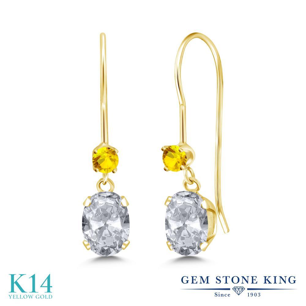 Gem Stone King 1.26カラット 天然 トパーズ (無色透明) イエローサファイア 14金 イエローゴールド(K14) ピアス レディース ぶら下がり アメリカン 揺れる 天然石 11月 誕生石 金属アレルギー対応 誕生日プレゼント
