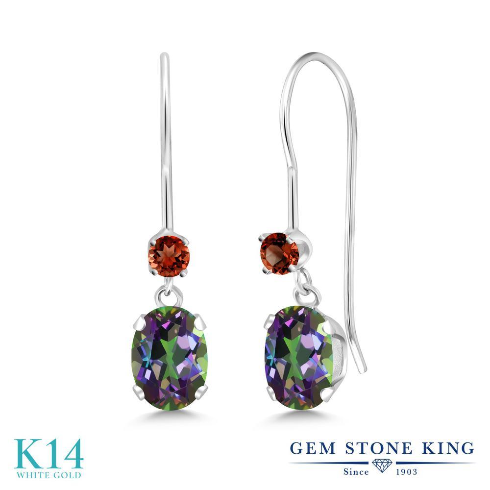 Gem Stone King 2.7カラット 天然石 ミスティックトパーズ (グリーン) 天然 ガーネット 14金 ホワイトゴールド(K14) ピアス レディース ぶら下がり アメリカン 揺れる 天然石 金属アレルギー対応 誕生日プレゼント