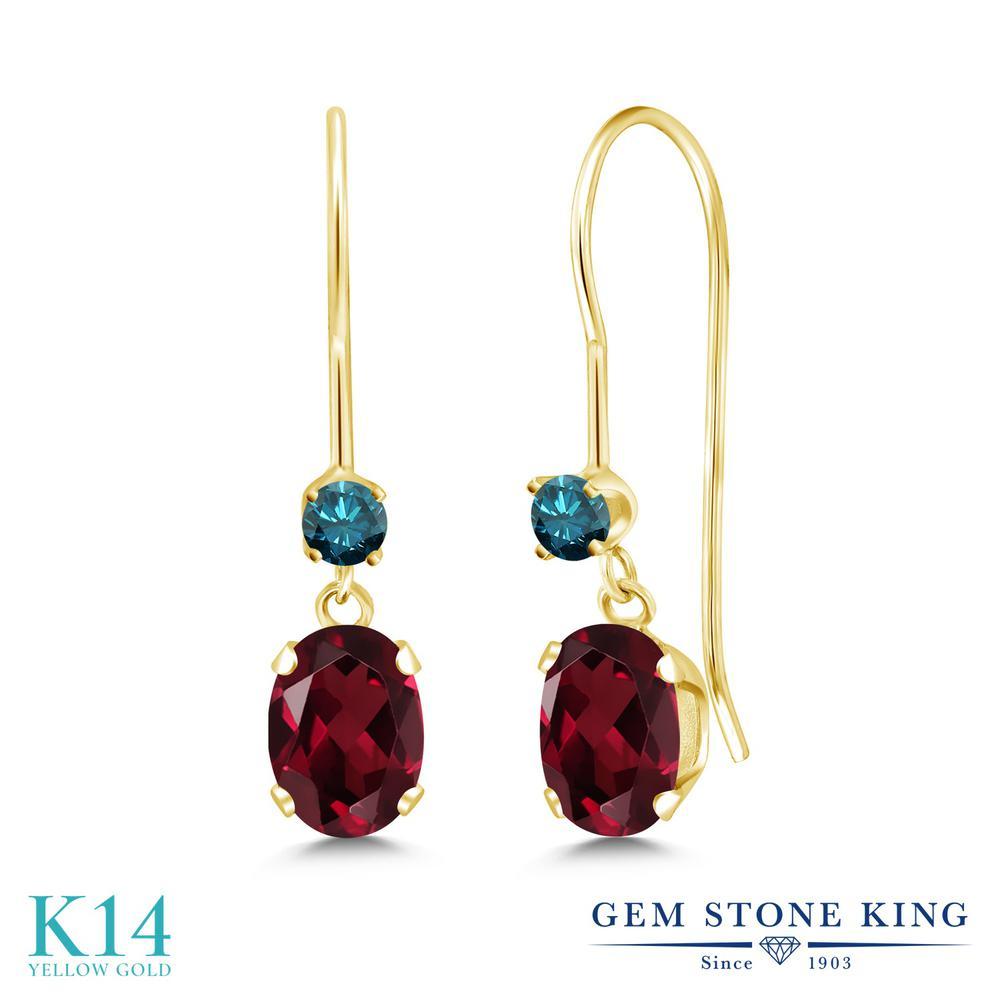 Gem Stone King 1.13カラット 天然 ロードライトガーネット 天然 ブルーダイヤモンド 14金 イエローゴールド(K14) ピアス レディース 小粒 ぶら下がり アメリカン 揺れる 天然石 金属アレルギー対応 誕生日プレゼント