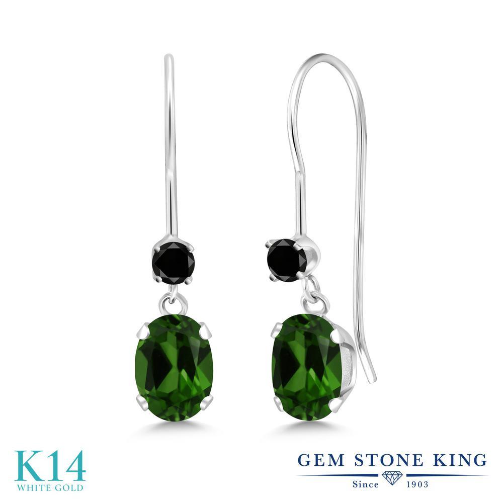 Gem Stone King 1.03カラット 天然 クロムダイオプサイド 天然ブラックダイヤモンド 14金 ホワイトゴールド(K14) ピアス レディース 小粒 ぶら下がり アメリカン 揺れる 天然石 金属アレルギー対応 誕生日プレゼント