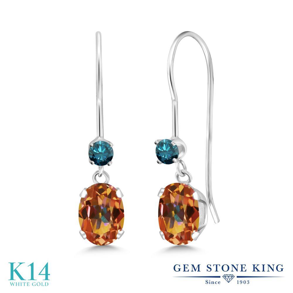 Gem Stone King 1.13カラット 天然石 エクスタシーミスティックトパーズ 天然 ブルーダイヤモンド 14金 ホワイトゴールド(K14) ピアス レディース 小粒 ぶら下がり アメリカン 揺れる 天然石 金属アレルギー対応 誕生日プレゼント
