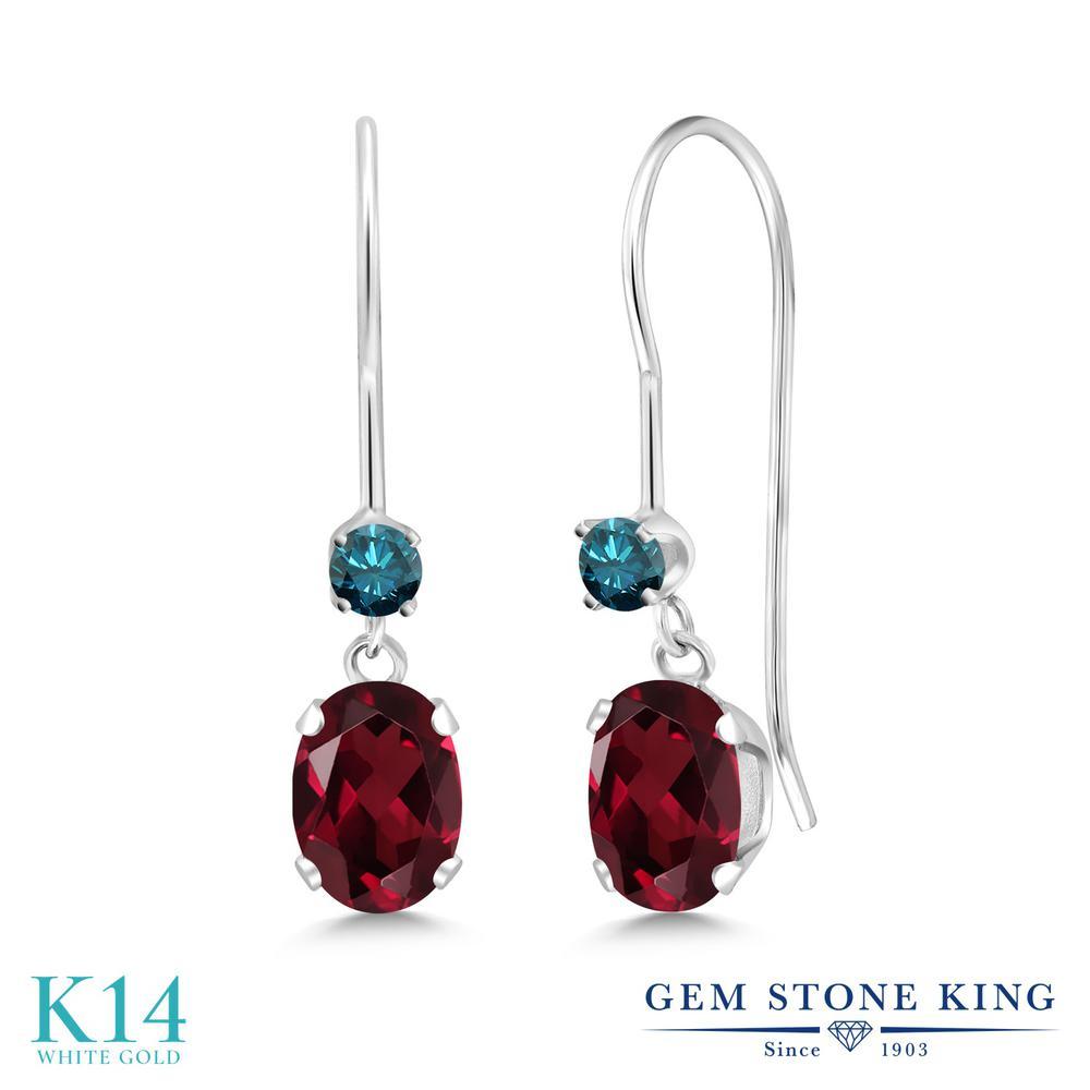 Gem Stone King 1.13カラット 天然 ロードライトガーネット 天然 ブルーダイヤモンド 14金 ホワイトゴールド(K14) ピアス レディース 小粒 ぶら下がり アメリカン 揺れる 天然石 金属アレルギー対応 誕生日プレゼント