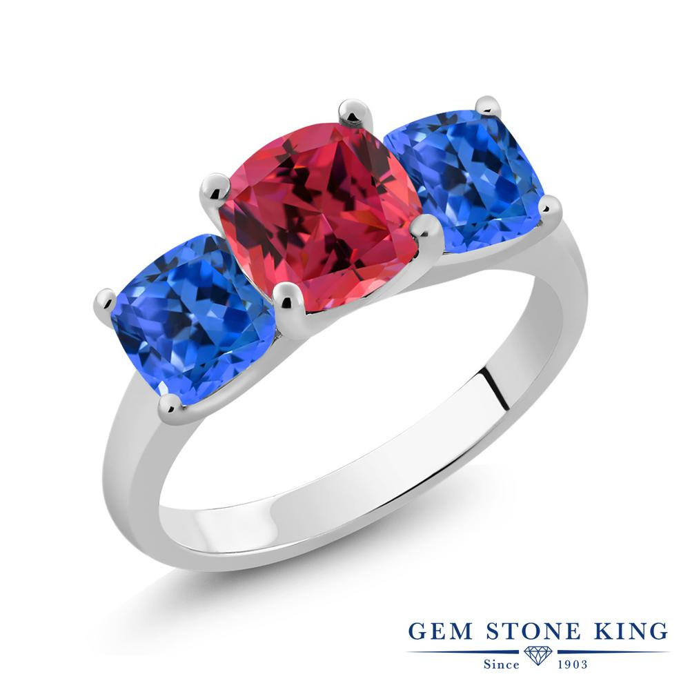 Gem Stone King 4.88カラット スワロフスキージルコニア(ファンシーピンク) シルバー925 指輪 リング レディース CZ 大粒 スリーストーン シンプル 金属アレルギー対応 誕生日プレゼント