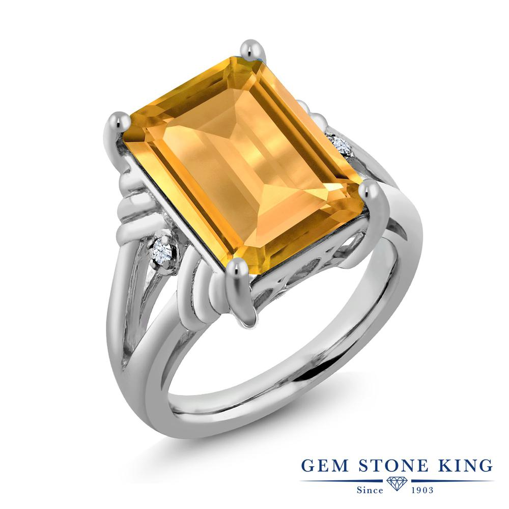 Gem Stone King 8.23カラット 天然 シトリン 合成ホワイトサファイア (ダイヤのような無色透明) シルバー925 指輪 リング レディース 大粒 シンプル カクテル 天然石 11月 誕生石 金属アレルギー対応 誕生日プレゼント