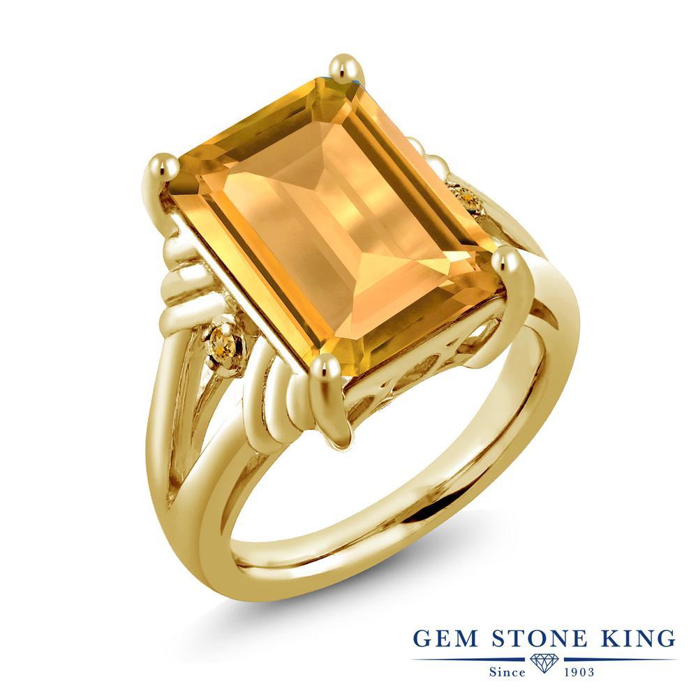 Gem Stone King 8.24カラット 天然 シトリン シルバー925 イエローゴールドコーティング 指輪 リング レディース 大粒 シンプル カクテル 天然石 11月 誕生石 金属アレルギー対応 誕生日プレゼント