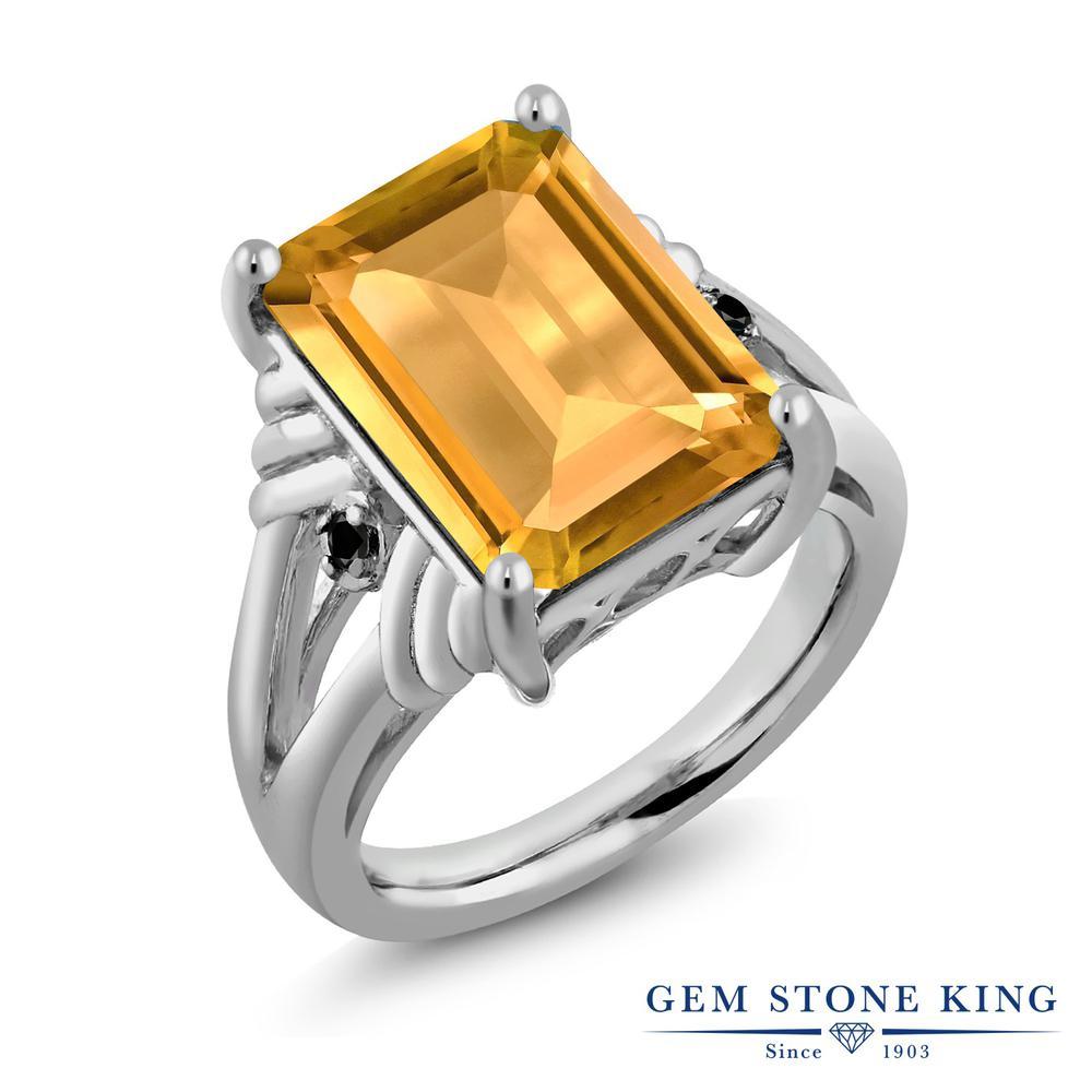 Gem Stone King 8.23カラット 天然 シトリン 天然ブラックダイヤモンド シルバー925 指輪 リング レディース 大粒 シンプル カクテル 天然石 11月 誕生石 金属アレルギー対応 誕生日プレゼント