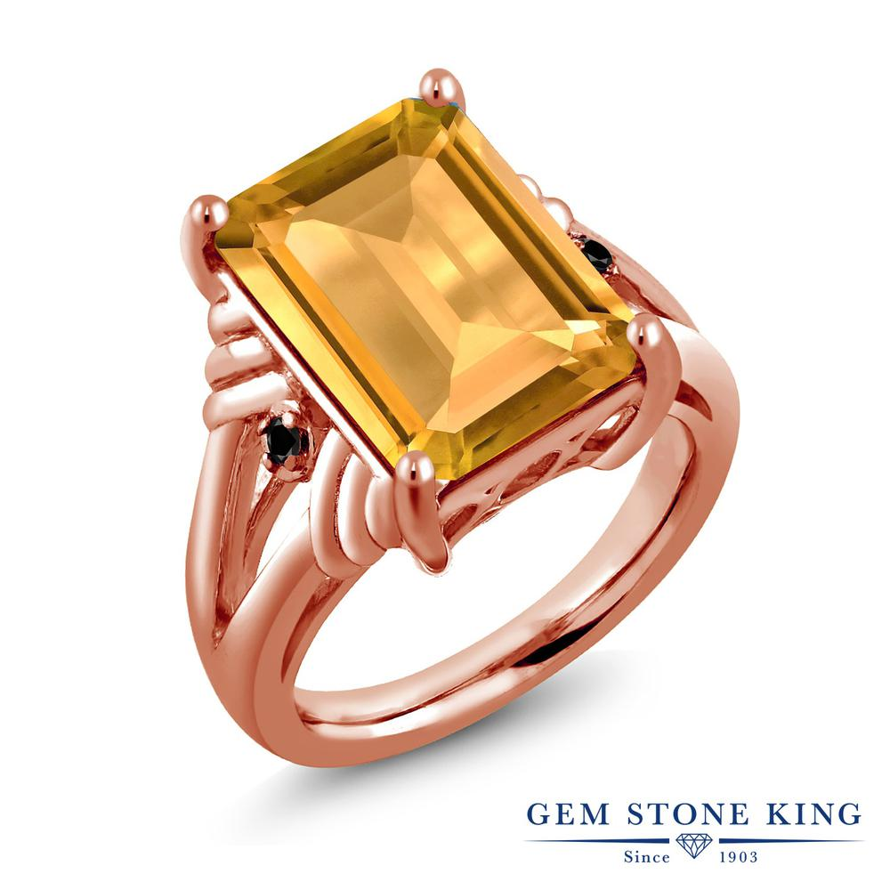 Gem Stone King 8.23カラット 天然 シトリン 天然ブラックダイヤモンド シルバー925 ピンクゴールドコーティング 指輪 リング レディース 大粒 シンプル カクテル 天然石 11月 誕生石 金属アレルギー対応 誕生日プレゼント