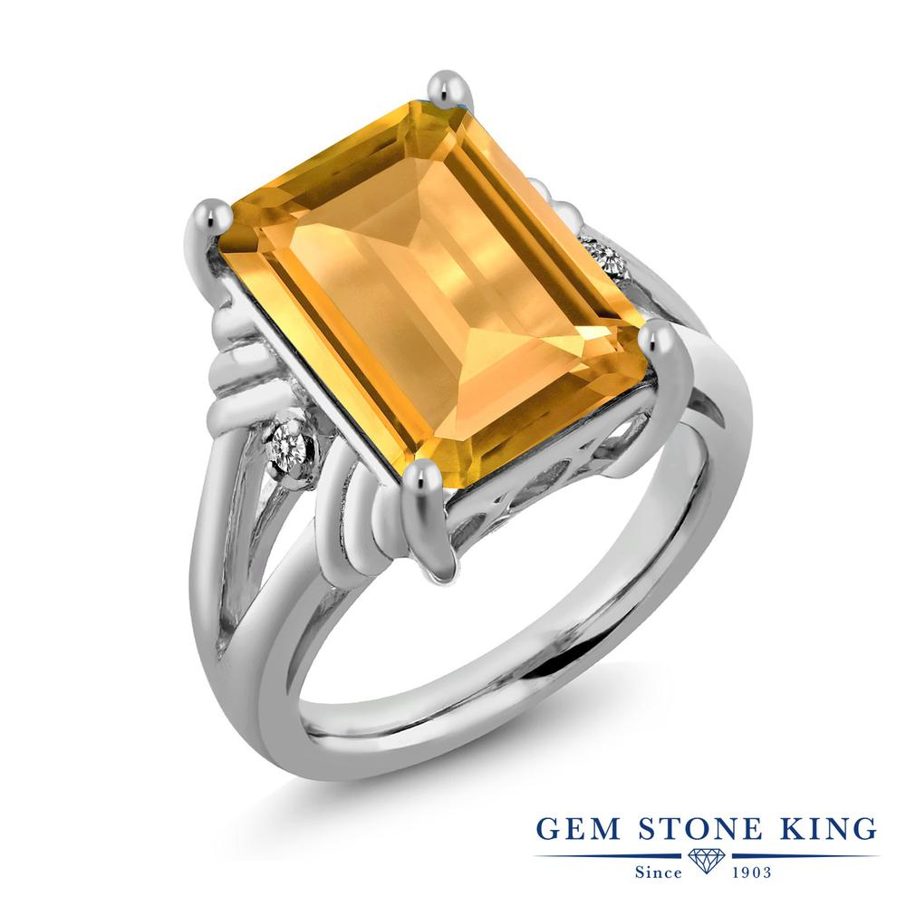 【10%OFF】 Gem Stone King 8.23カラット 天然 シトリン ダイヤモンド 指輪 リング レディース シルバー925 大粒 シンプル カクテル 天然石 11月 誕生石 クリスマスプレゼント 女性 彼女 妻 誕生日