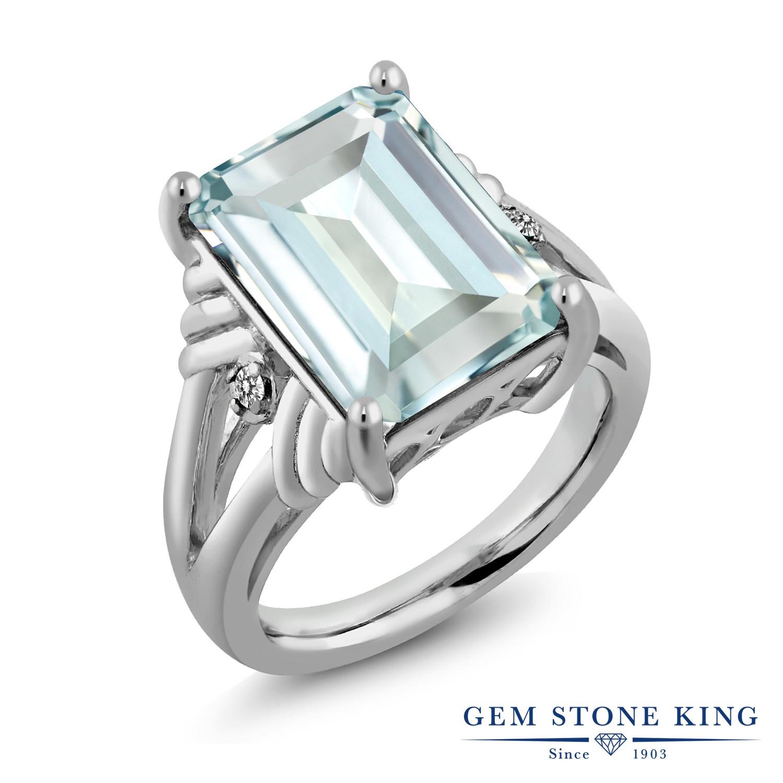 【10%OFF】 Gem Stone King 6.67カラット シミュレイテッド アクアマリン シルバー925 天然ダイヤモンド 指輪 リング レディース 大粒 シンプル カクテル 金属アレルギー対応 誕生日プレゼント