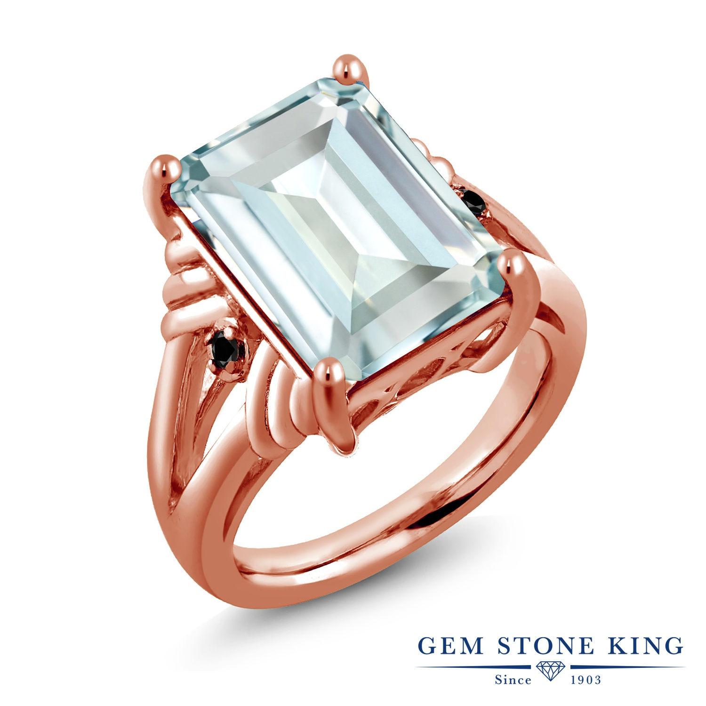 Gem Stone King 6.67カラット シミュレイテッド アクアマリン ブラックダイヤモンド 指輪 リング レディース シルバー925 ピンクゴールド 加工 大粒 シンプル カクテル 金属アレルギー対応