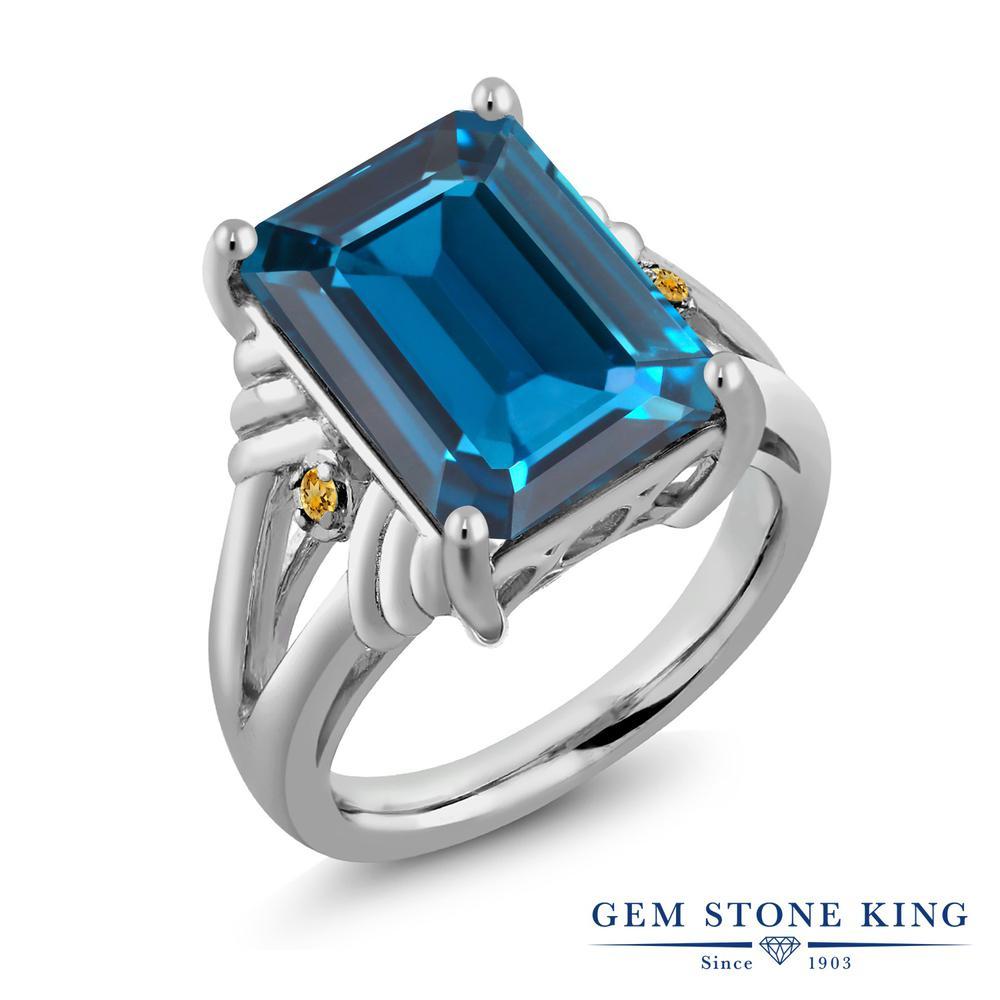 【10%OFF】 Gem Stone King 9.04カラット 天然 ロンドンブルートパーズ イエローシトリン 指輪 リング レディース シルバー925 大粒 シンプル カクテル 天然石 11月 誕生石 クリスマスプレゼント 女性 彼女 妻 誕生日
