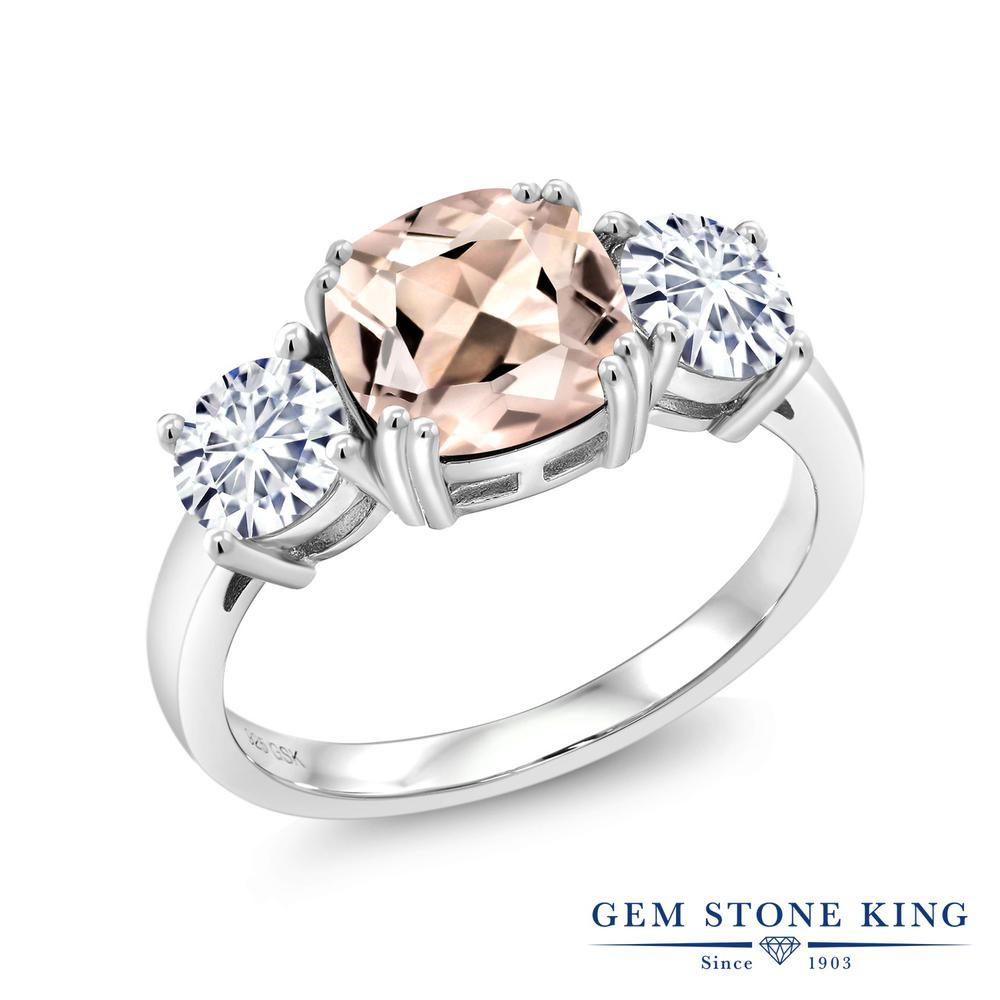 Gem Stone King 2.88カラット 天然 モルガナイト (ピーチ) モアッサナイト Charles & Colvard シルバー925 指輪 リング レディース 大粒 シンプル スリーストーン 天然石 3月 誕生石 金属アレルギー対応 誕生日プレゼント