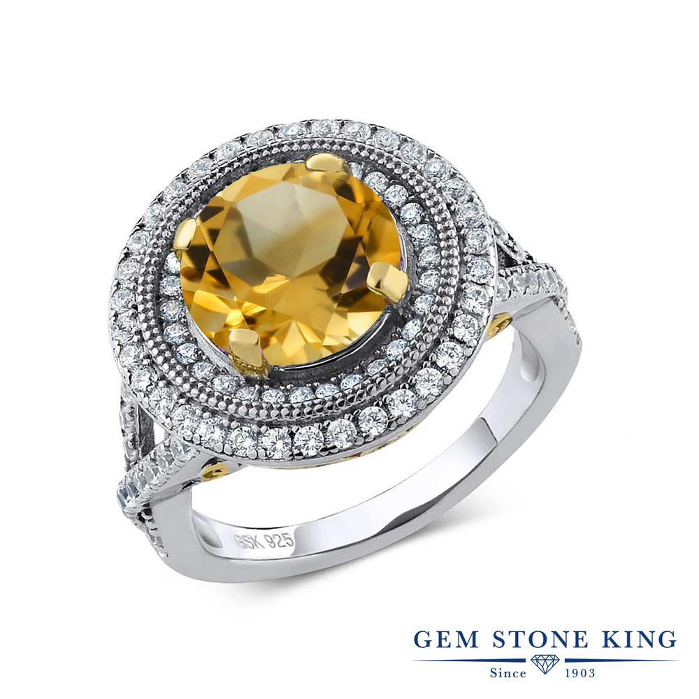 Gem Stone King 3.7カラット 天然 シトリン 指輪 リング レディース シルバー925 大粒 大ぶり 天然石 11月 誕生石 金属アレルギー対応