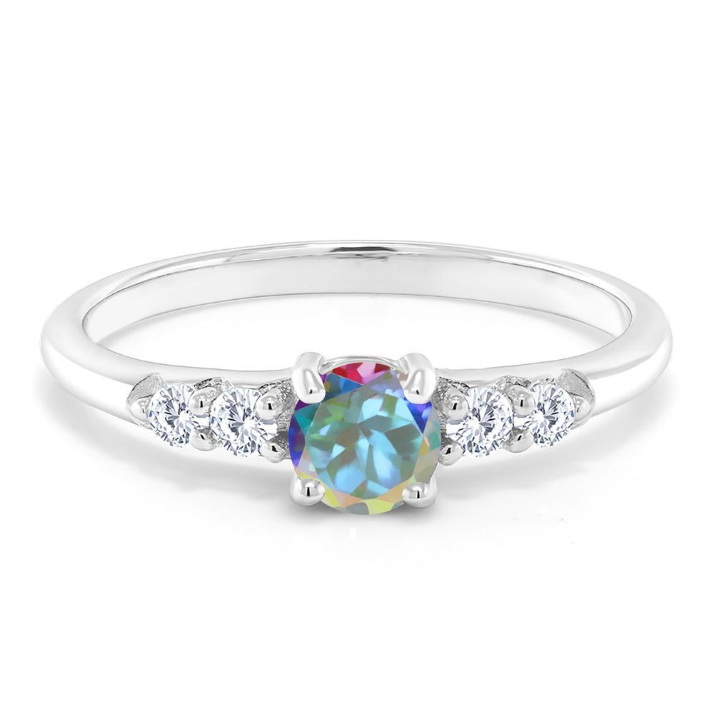 2.83 Ct Ovale Blanc Ethiopian Opal Blanc Diamant Argent Sterling 925 Bracelet