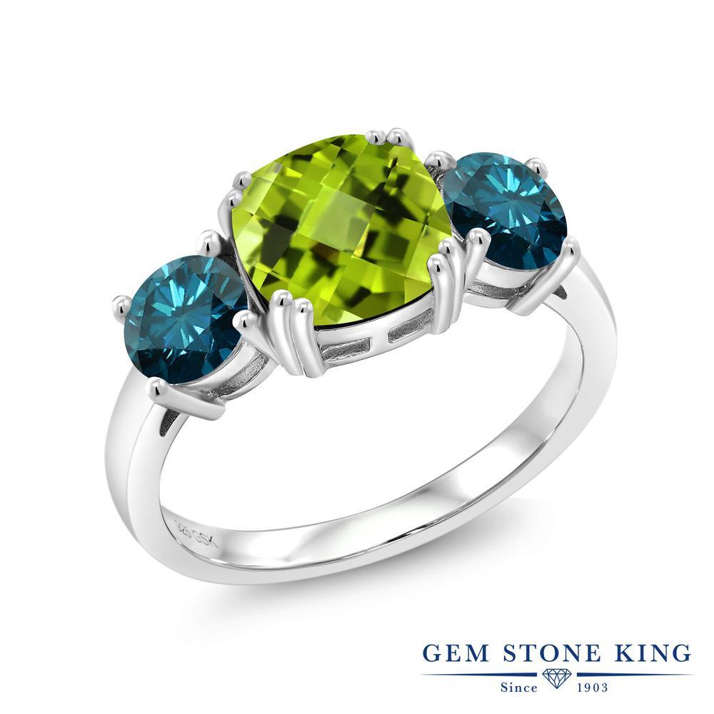 3.63カラット 天然石 ペリドット 指輪 レディース リング 天然 ブルーダイヤモンド シルバー925 ブランド おしゃれ 3連 緑 大粒 シンプル スリーストーン 8月 誕生石 プレゼント 女性 彼女 妻 誕生日