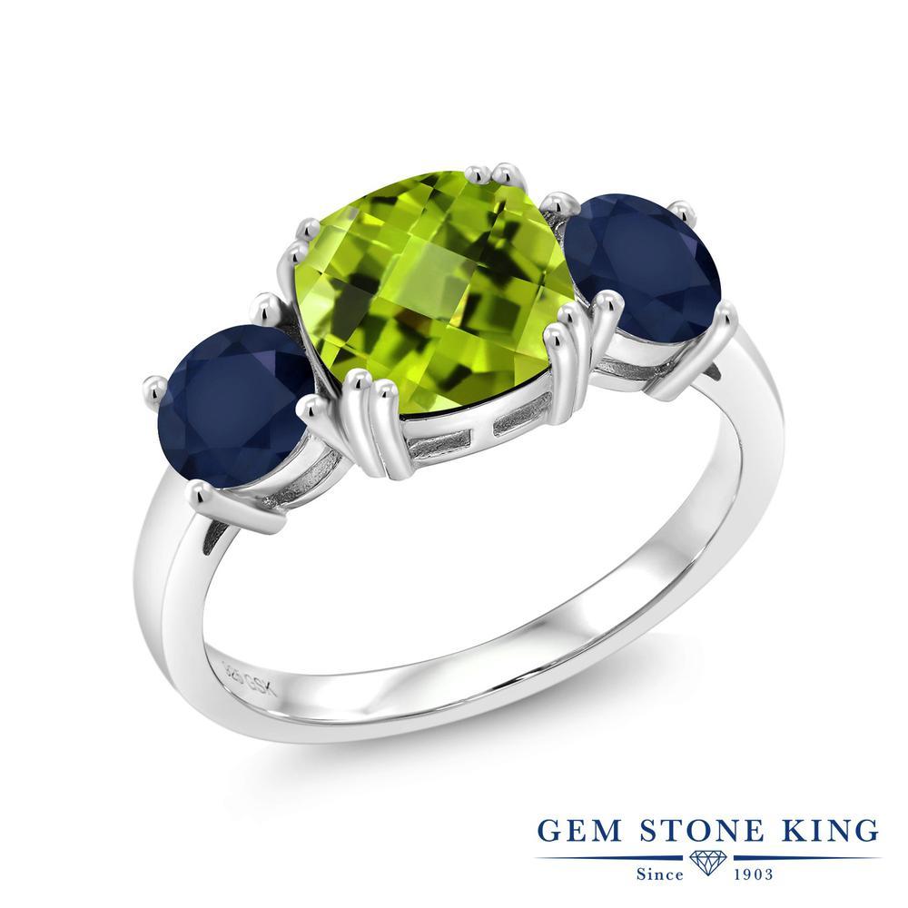 【10%OFF】 Gem Stone King 3.73カラット 天然石 ペリドット 天然 サファイア 指輪 リング レディース シルバー925 大粒 シンプル スリーストーン 8月 誕生石 クリスマスプレゼント 女性 彼女 妻 誕生日