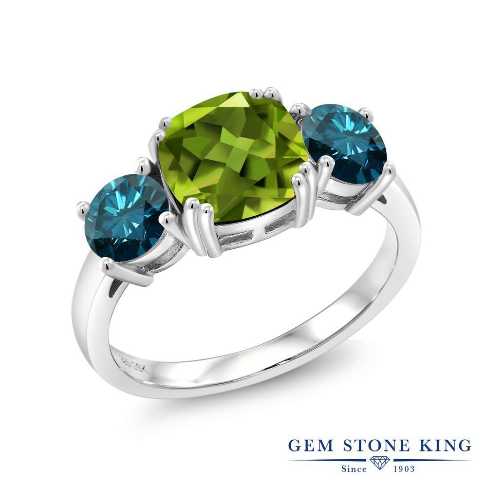 3.55カラット 天然石 ペリドット 指輪 レディース リング 天然 ブルーダイヤモンド シルバー925 ブランド おしゃれ 3連 緑 大粒 シンプル スリーストーン 8月 誕生石 プレゼント 女性 彼女 妻 誕生日