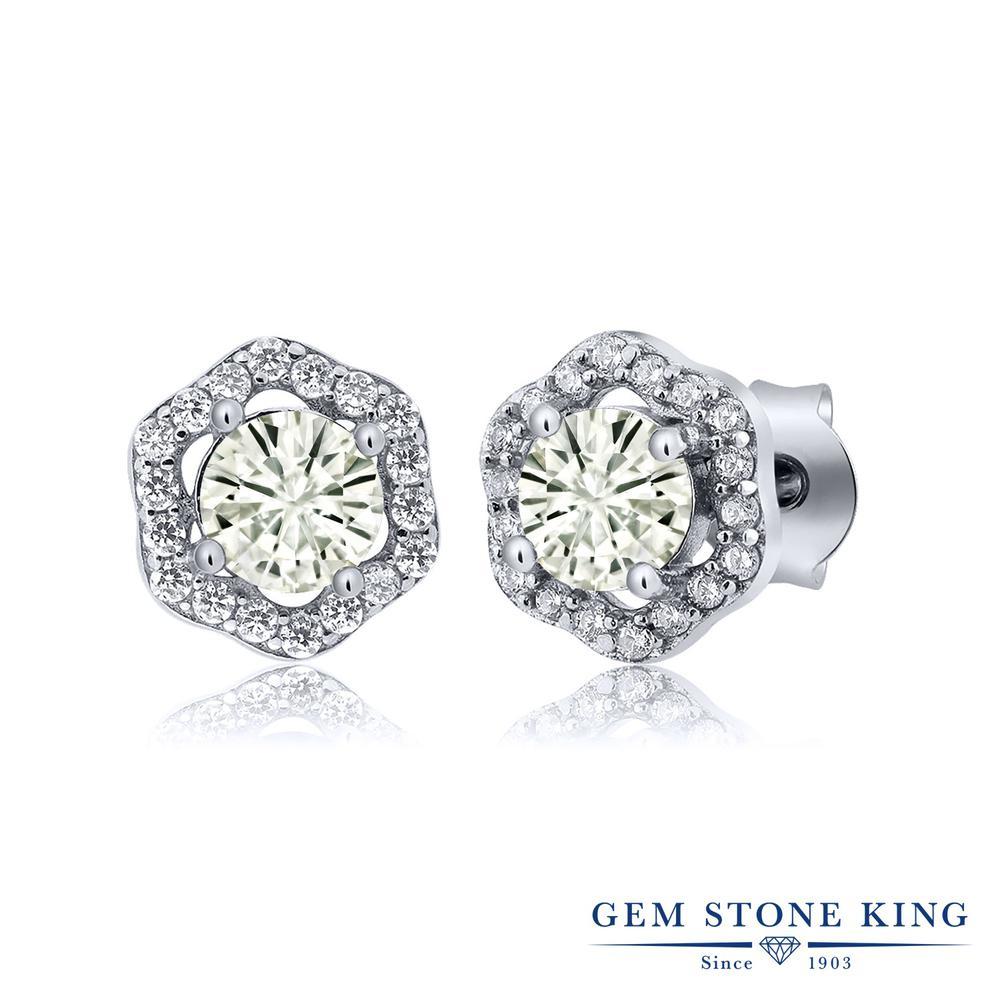 Gem Stone King 1.18カラット Forever Classic モアッサナイト Charles & Colvard シルバー925 ピアス レディース モアサナイト 小粒 スタッド 金属アレルギー対応 誕生日プレゼント