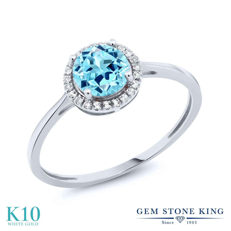Gem Stone King 1.04カラット 天然 アパタイト 天然 ダイヤモンド 10金 ホワイトゴールド(K10) 指輪 リング レディース ヘイロー 天然石 金属アレルギー対応 誕生日プレゼント