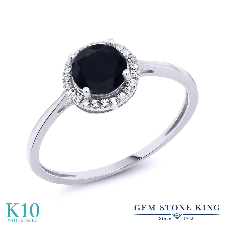 Gem Stone King 0.92カラット 天然 オニキス 天然 ダイヤモンド 10金 ホワイトゴールド(K10) 指輪 リング レディース ヘイロー 天然石 8月 誕生石 金属アレルギー対応 誕生日プレゼント