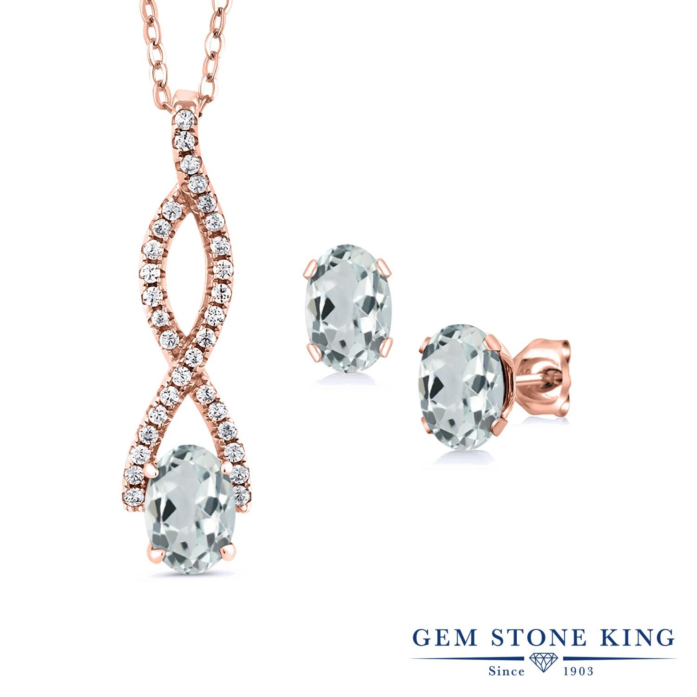 Gem Stone King 2.54カラット 天然 アクアマリン シルバー925 ピンクゴールドコーティング ペンダント&ピアスセット レディース 天然石 3月 誕生石 金属アレルギー対応 誕生日プレゼント