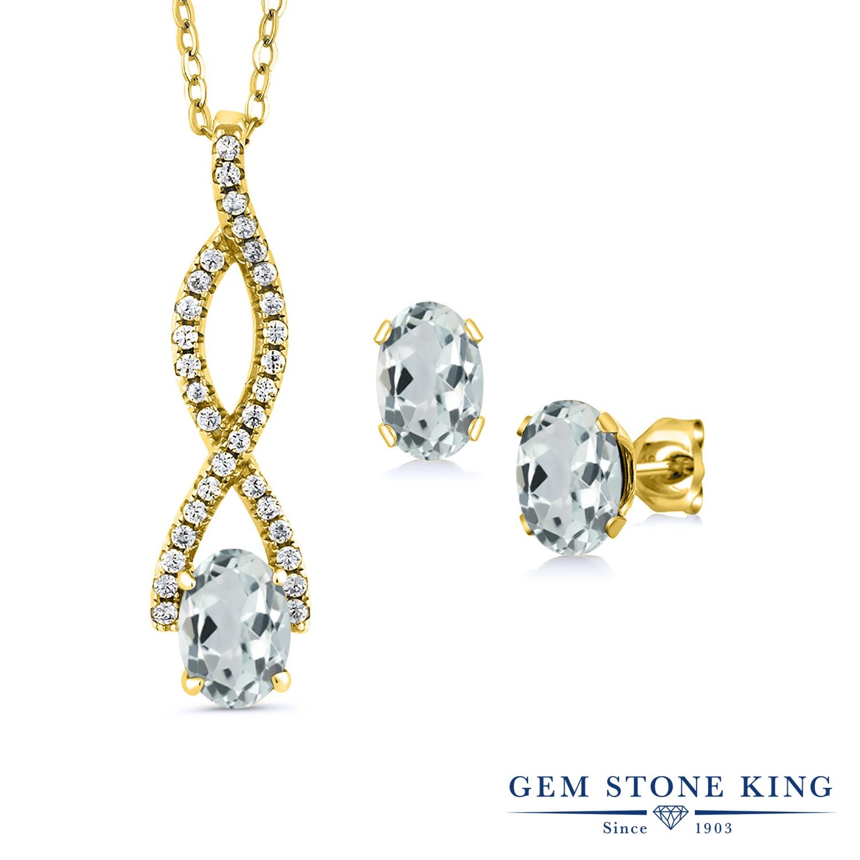 Gem Stone King 2.54カラット 天然 アクアマリン シルバー925 イエローゴールドコーティング ペンダント&ピアスセット レディース 天然石 3月 誕生石 金属アレルギー対応 誕生日プレゼント