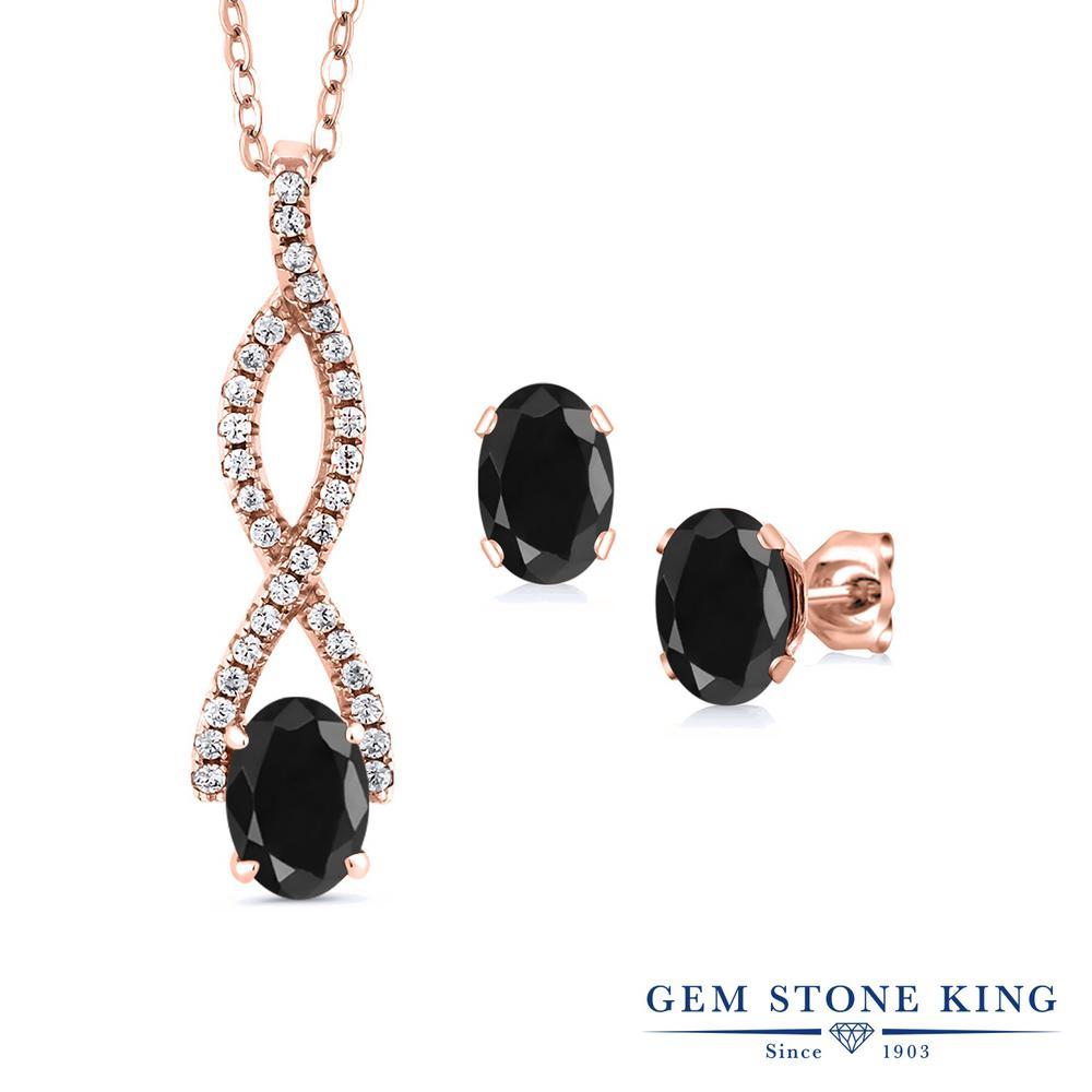 Gem Stone King 3.59カラット 天然サファイア(ブラック) シルバー 925 ローズゴールドコーティング ペンダント&ピアスセット レディース 大粒 大ぶり 天然石 誕生石 誕生日プレゼント