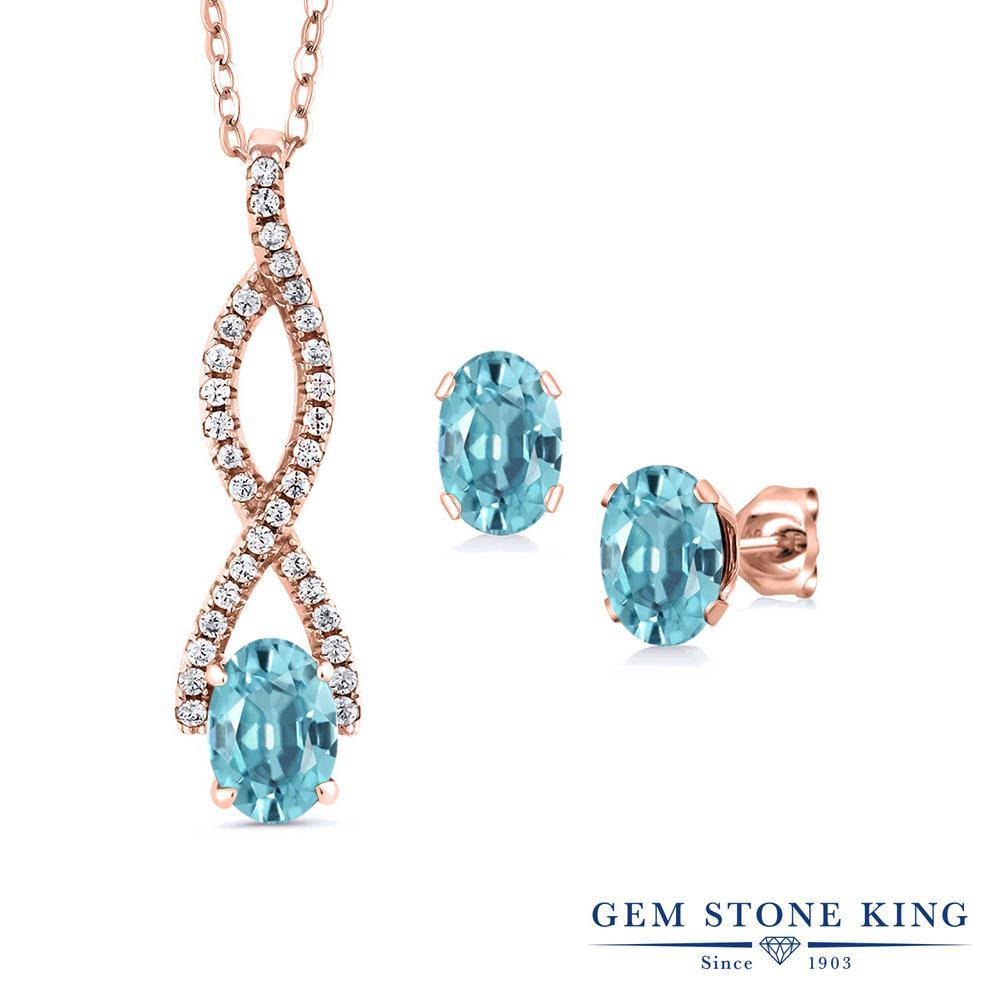 Gem Stone King 4.13カラット 天然石 ブルージルコン シルバー925 ピンクゴールドコーティング ペンダント&ピアスセット レディース 大粒 大ぶり 天然石 12月 誕生石 金属アレルギー対応 誕生日プレゼント