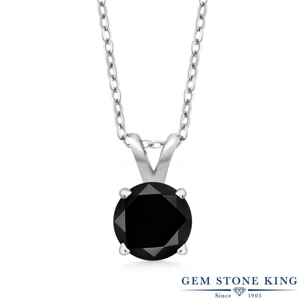 Gem Stone King 0.55カラット 天然ブラックダイヤモンド シルバー925 ネックレス ペンダント レディース ブラック ダイヤ 一粒 シンプル 天然石 4月 誕生石 金属アレルギー対応 誕生日プレゼント