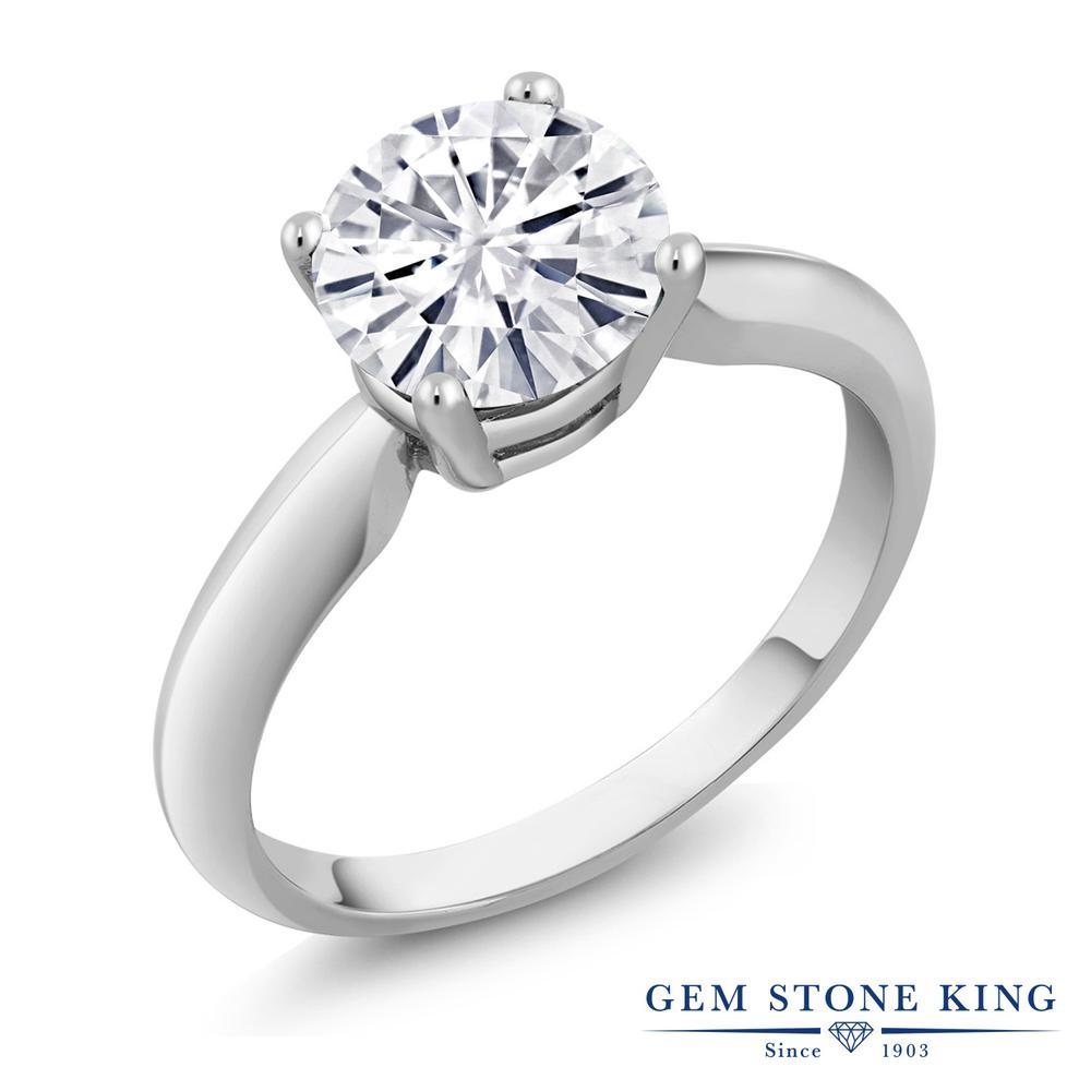 Gem Stone King 1.2カラット Forever Classic モアッサナイト Charles & Colvard シルバー925 指輪 リング レディース 大粒 一粒 シンプル 誕生日プレゼント