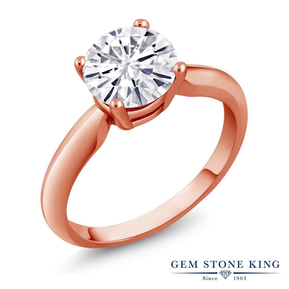 Gem Stone King 1.2カラット Forever Classic モアッサナイト Charles & Colvard シルバー 925 ローズゴールドコーティング 指輪 リング レディース 大粒 一粒 シンプル 誕生日プレゼント