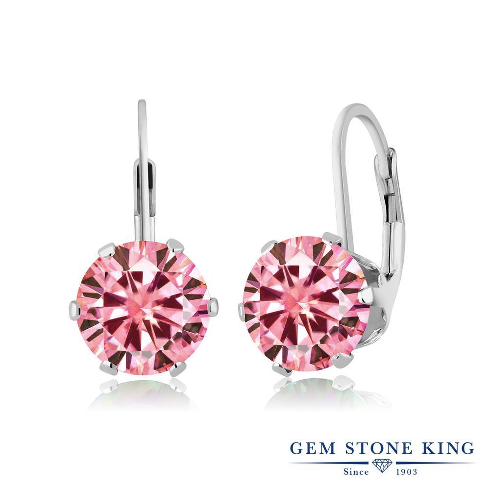 Gem Stone King 3.8カラット ピンク モアッサナイト Charles & Colvard シルバー925 ピアス レディース モアサナイト 大粒 シンプル ぶら下がり レバーバック 金属アレルギー対応 誕生日プレゼント