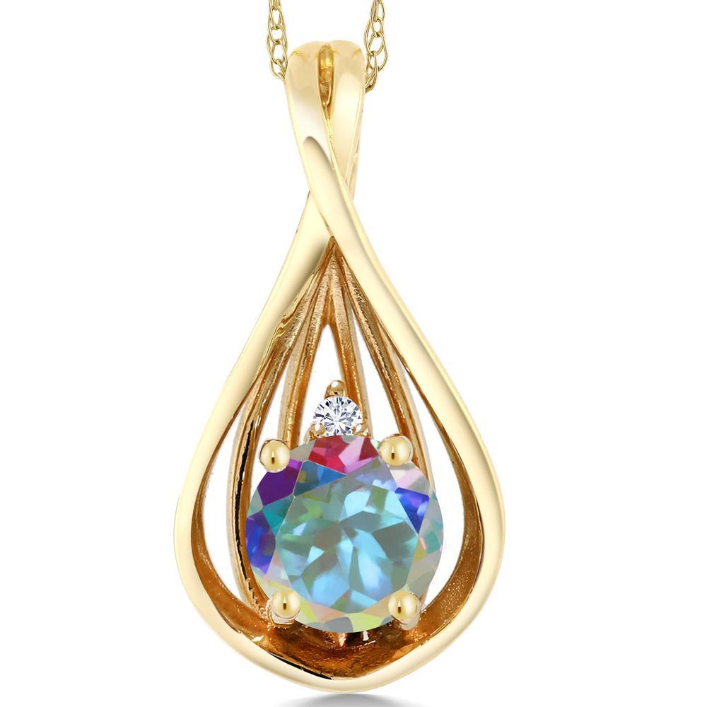 Gem Stone King 0.56カラット 天然石 ミスティックトパーズ(マーキュリーミスト) 10金 イエローゴールド(K10) 天然ダイヤモンド ネックレス ペンダント レディース シンプル 天然石 金属アレルギー対応 誕生日プレゼント