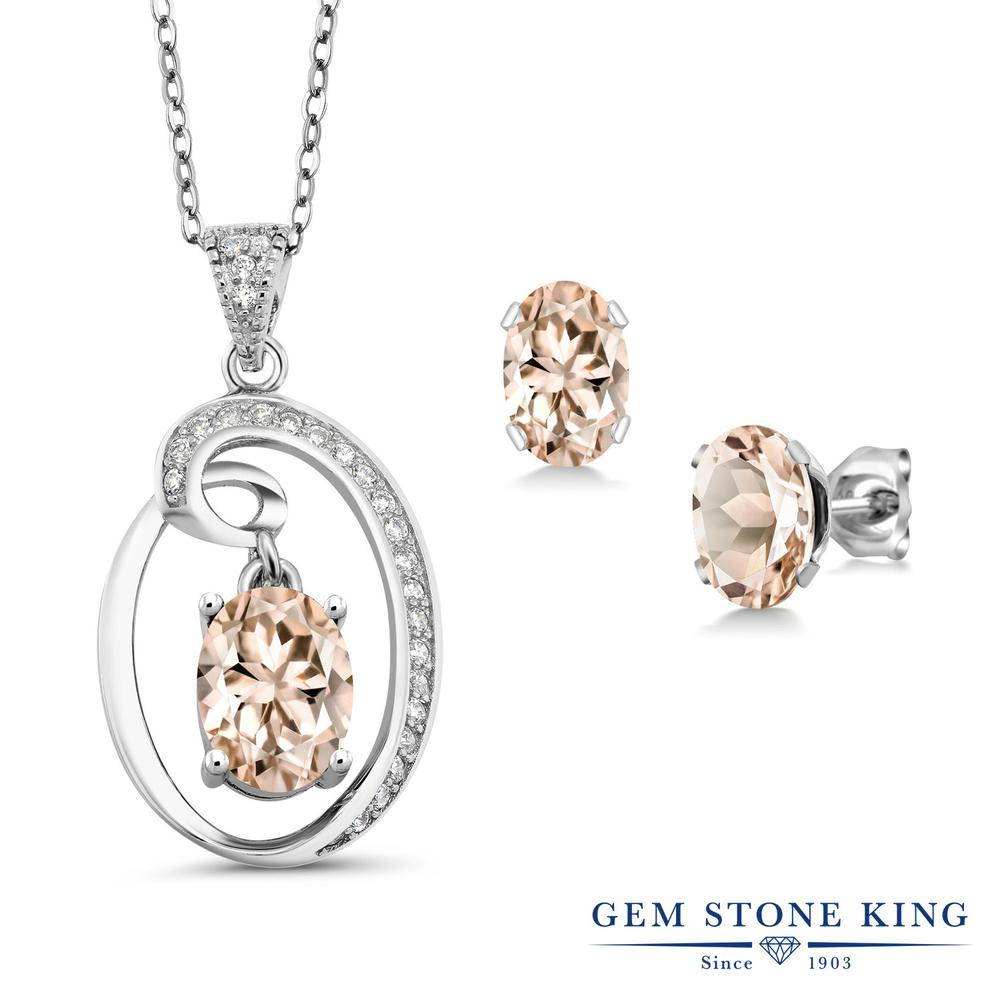 Gem Stone King 2.6カラット 天然 モルガナイト (ピーチ) シルバー925 ペンダント&ピアスセット レディース 大粒 天然石 3月 誕生石 金属アレルギー対応 誕生日プレゼント