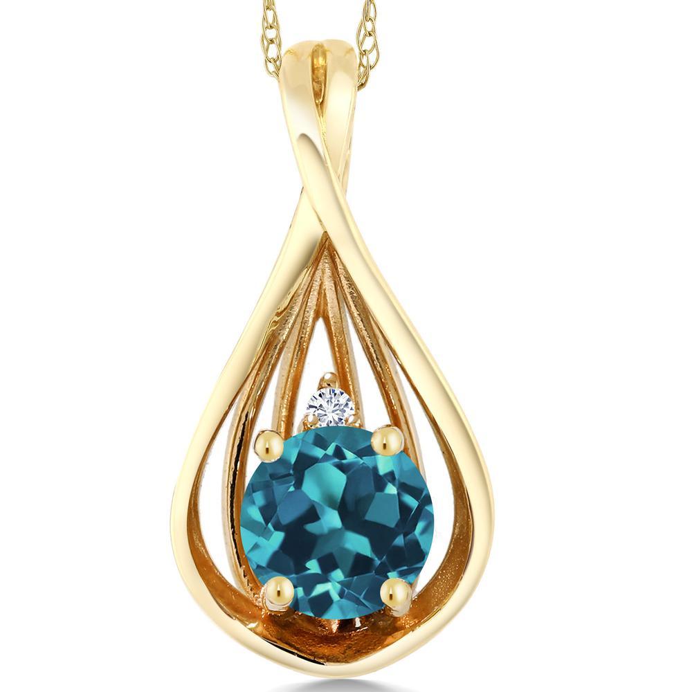 Gem Stone King 0.66カラット 天然トパーズ(ロンドンブルー) 10金 イエローゴールド(K10) 天然ダイヤモンド ネックレス ペンダント レディース シンプル 天然石 誕生石 金属アレルギー対応 誕生日プレゼント