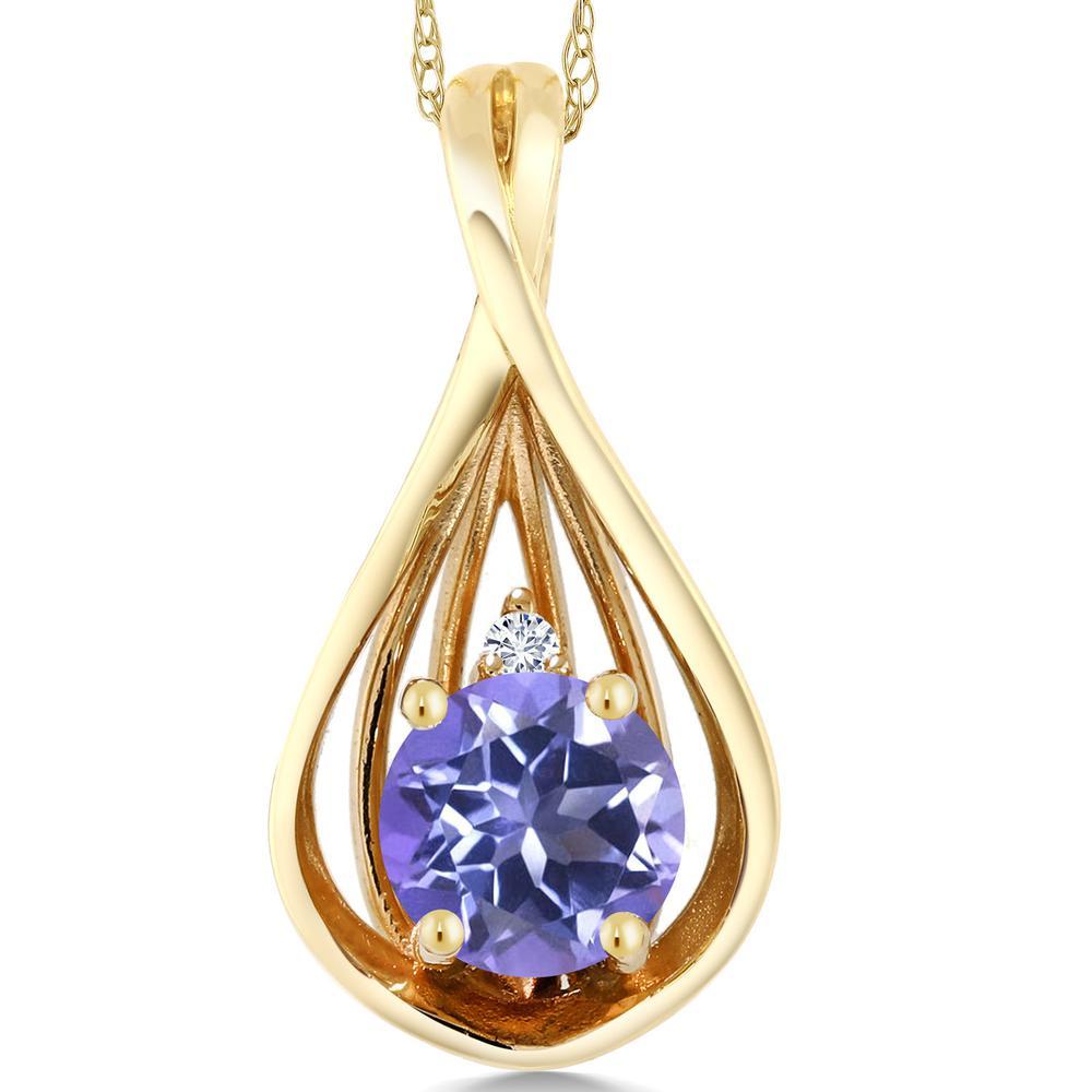 Gem Stone King 0.66カラット 天然ミスティックトパーズ(タンザナイトブルー) 10金 イエローゴールド(K10) 天然ダイヤモンド ネックレス ペンダント レディース シンプル 天然石 金属アレルギー対応 誕生日プレゼント