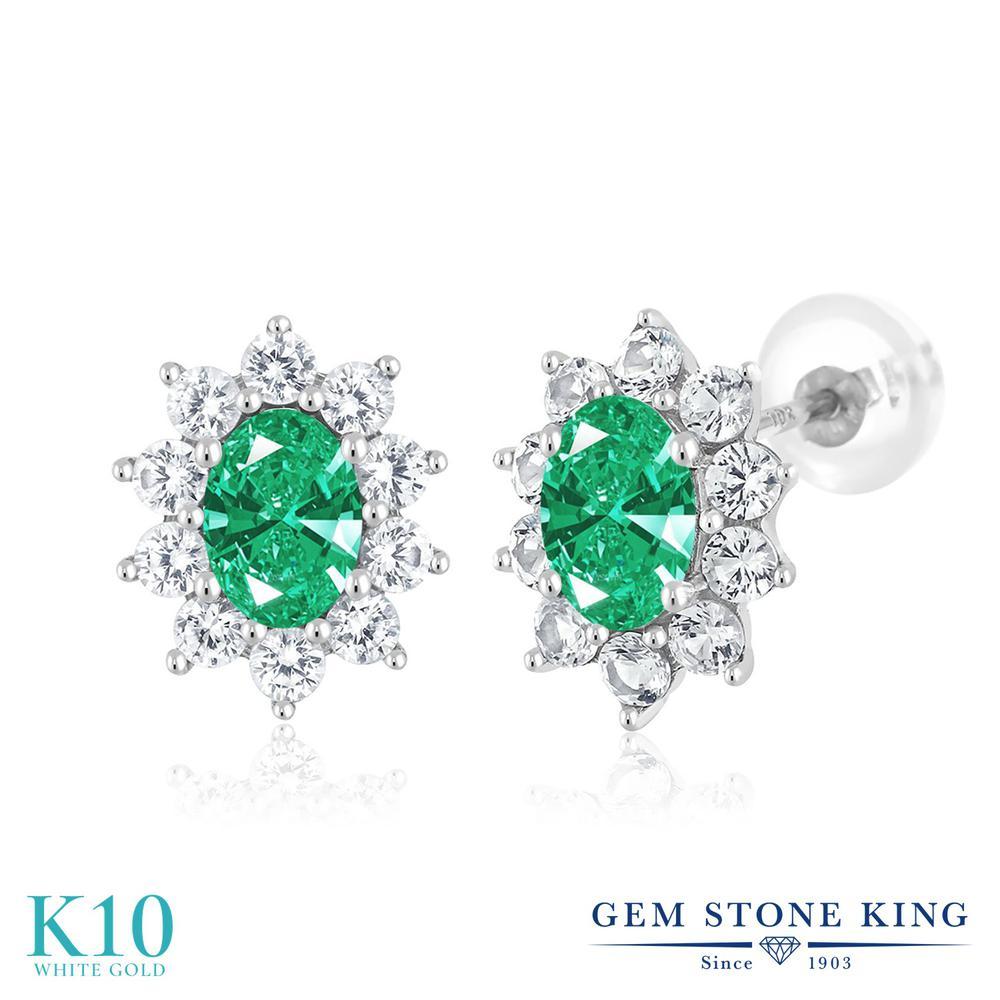 Gem Stone King 1.66カラット スワロフスキージルコニア (グリーン) 合成ホワイトサファイア (ダイヤのような無色透明) 10金 ホワイトゴールド(K10) ピアス レディース CZ 小粒 スタッド 金属アレルギー対応 誕生日プレゼント