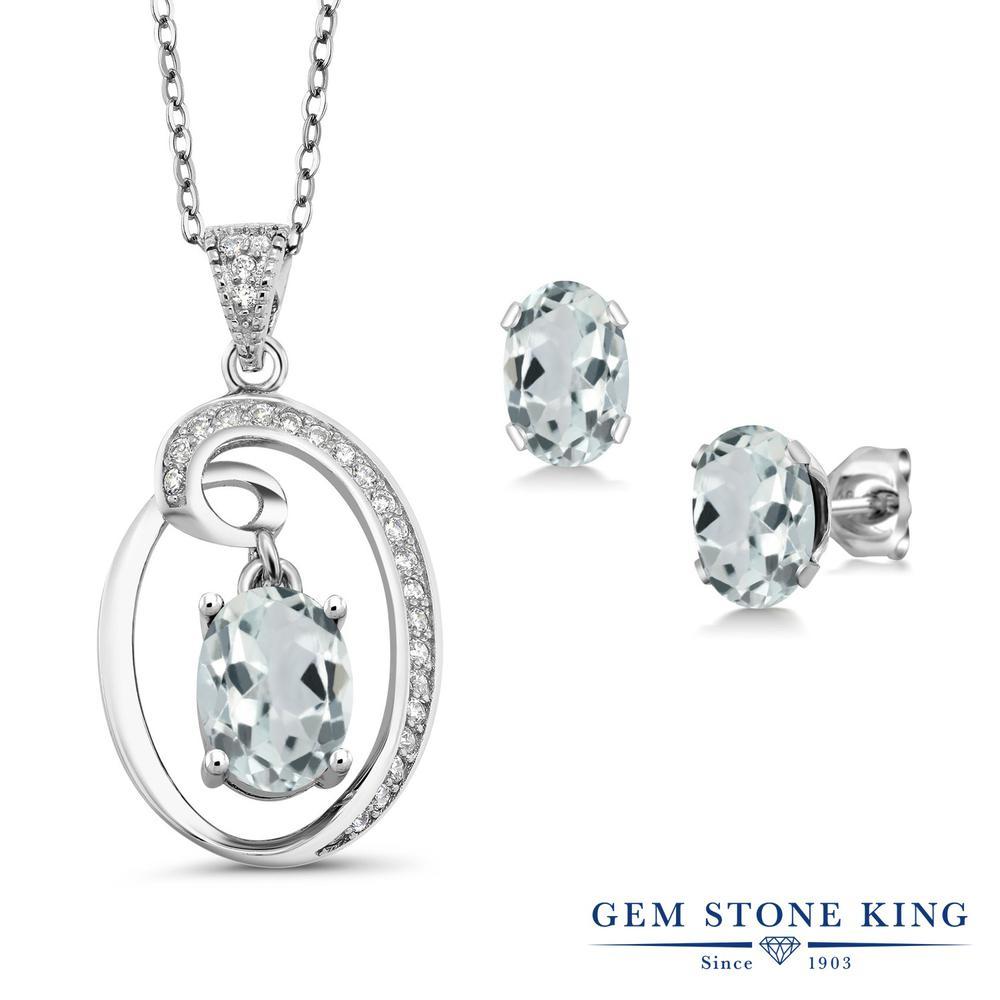 Gem Stone King 2.87カラット 天然 アクアマリン シルバー925 ペンダント&ピアスセット レディース 大粒 天然石 3月 誕生石 金属アレルギー対応 誕生日プレゼント