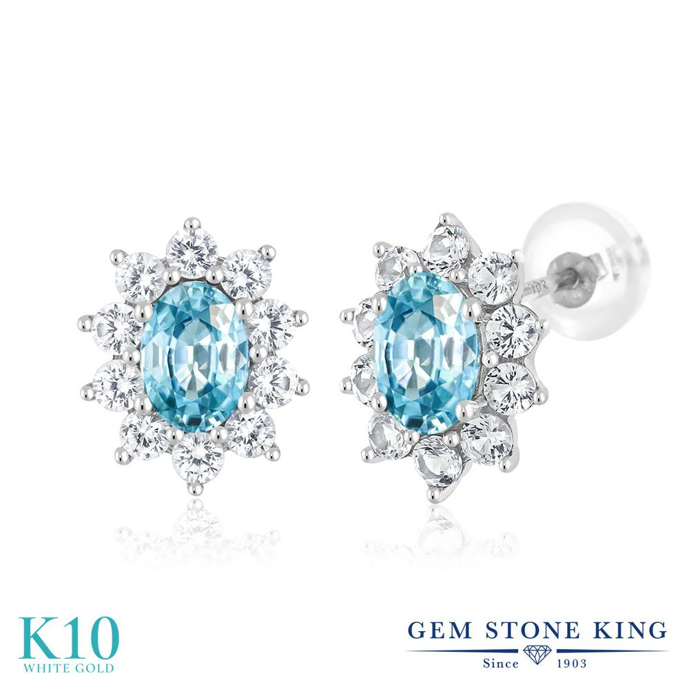 Gem Stone King 2.3カラット 天然石 ブルージルコン 合成ホワイトサファイア (ダイヤのような無色透明) 10金 ホワイトゴールド(K10) ピアス レディース スタッド 天然石 12月 誕生石 金属アレルギー対応 誕生日プレゼント