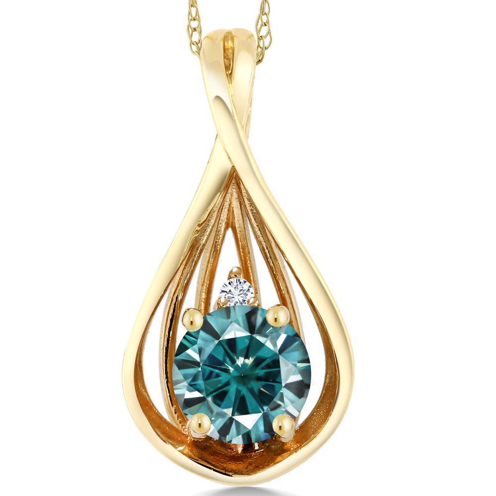 Gem Stone King 0.51カラット モアッサナイト Charles & Colvard 10金 イエローゴールド(K10) 天然ダイヤモンド ネックレス ペンダント レディース 小粒 シンプル 金属アレルギー対応 誕生日プレゼント