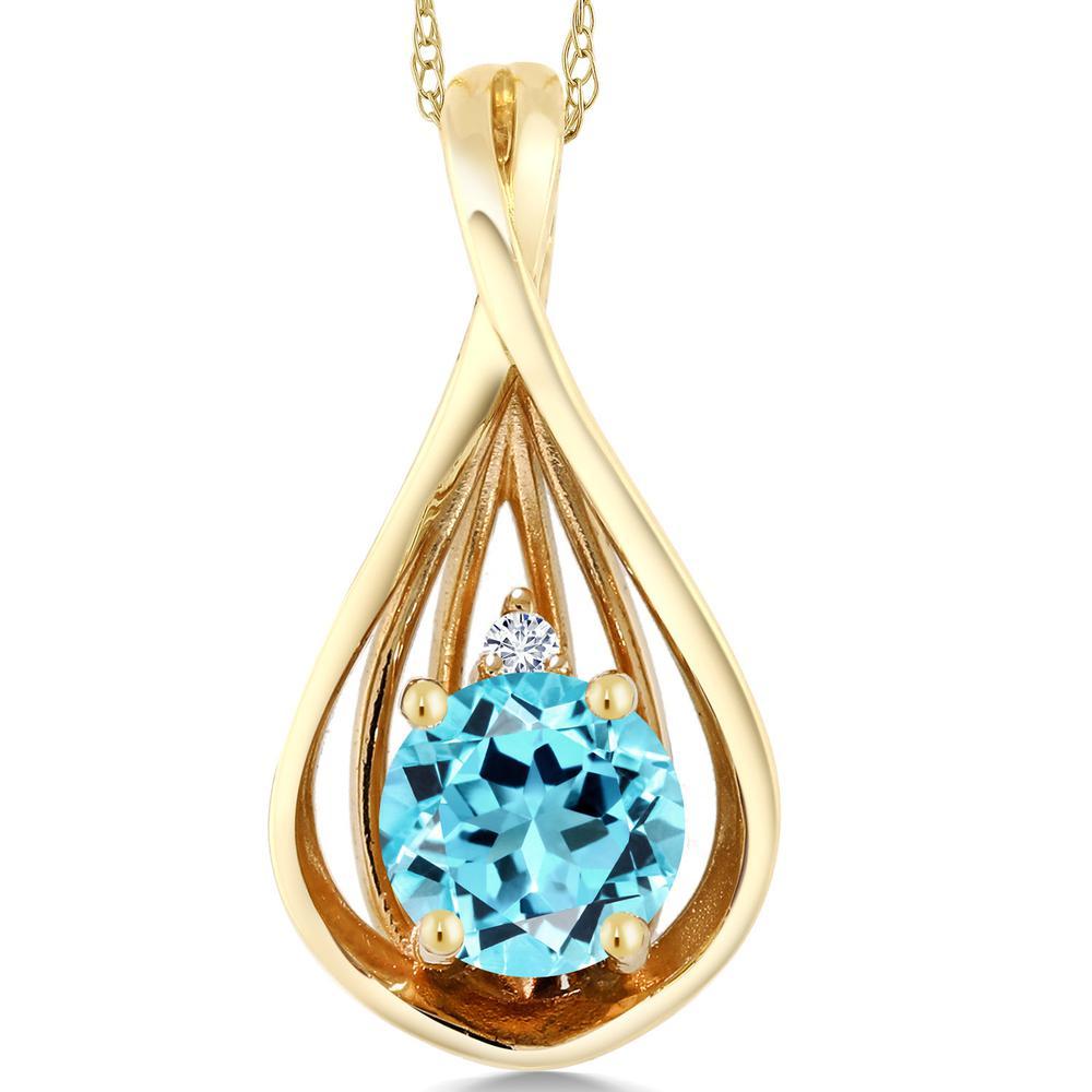 Gem Stone King 0.61カラット 天然トパーズ(スイスブルー) 10金 イエローゴールド(K10) 天然ダイヤモンド ネックレス ペンダント レディース シンプル 天然石 誕生石 金属アレルギー対応 誕生日プレゼント