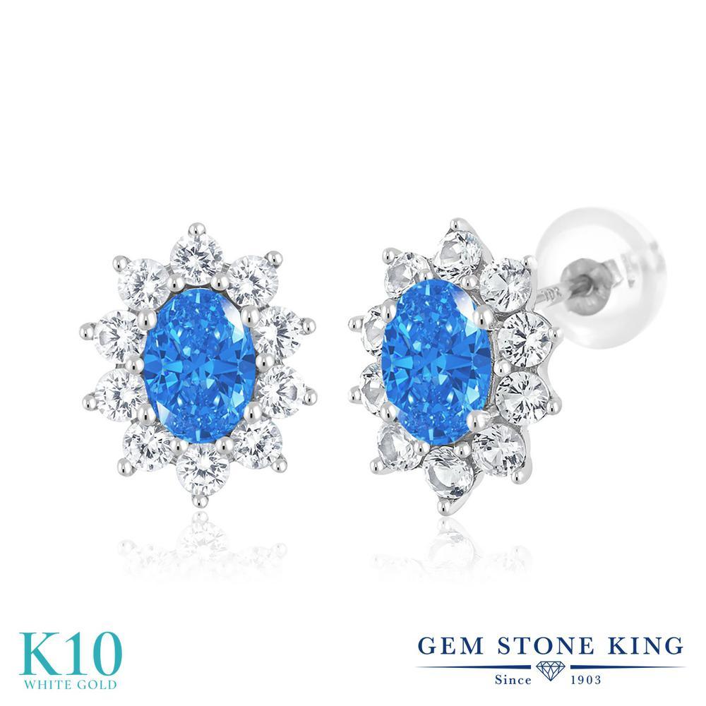 Gem Stone King 1.66カラット スワロフスキージルコニア (ファンシーブルー) 合成ホワイトサファイア (ダイヤのような無色透明) 10金 ホワイトゴールド(K10) ピアス レディース CZ 小粒 スタッド 金属アレルギー対応 誕生日プレゼント