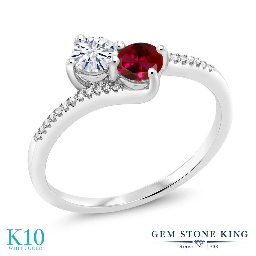 Gem Stone King 0.65カラット Forever Classic モアッサナイト Charles & Colvard 合成ルビー 天然ダイヤモンド 10金 ホワイトゴールド(K10) 天然ダイヤモンド 指輪 リング レディース 小粒 誕生日プレゼント