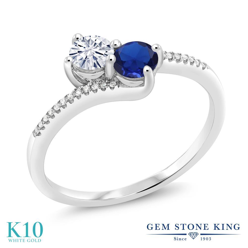 Gem Stone King 0.65カラット Forever Classic モアッサナイト Charles & Colvard シミュレイテッドサファイア 天然ダイヤモンド 10金 ホワイトゴールド(K10) 天然ダイヤモンド 指輪 リング レディース 小粒 誕生日プレゼント